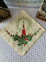 """1 Vintage 1920's Red Holly Berries Candle Christmas Crepe Paper Napkin 9x9"""" in"""