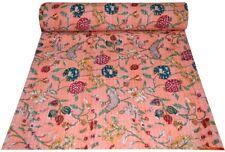 Indian Handmade Twin Kantha Quilt Throw Cotton Blanket Floral Print Boho Blanket