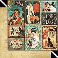 Graphic45 WELL BRED 12x12 Dbl-Sided Scrapbook (2) Papers VINTAGE DOGS CATS