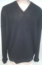 LORA PIANA Light Weight V-Neck Pullover Sweater Thermal Shirt Size Large Black