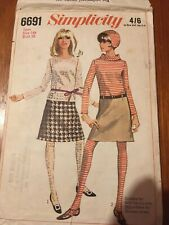 Vintage Simplicity 1960s sewing pattern 6691 SZ16 teen skirts, tights, jumper