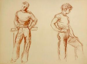 WALTER STUEMPFIG 20th c. American Philadelphia Artist DRAWING Sketch 2 Young Men