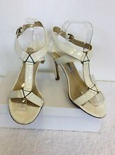 JIMMY CHOO WHITE PATENT LEATHER STRAPPY HEELED SANDALS SIZE 7/40.5