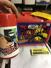 Vintage Aladdin Dick Tracy Plastic Lunchbox with Matching Pop-Top Thermos - NEW