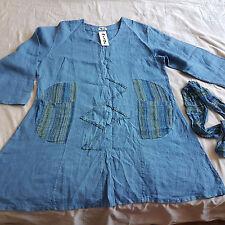 MIAMI Tunika mit Schlauchschal 100 % Leinen jeansblau in ca. Größe XL