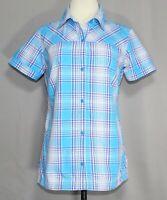 Columbia Omni Wick Button Up Short Sleeve Plaid Shirt Women's Size Medium