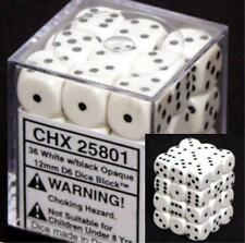 Chessex Dice d6 Sets Opaque White w/ Black Spots 36 12mm Six Sided Die CHX 25801