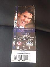 2010 Rockies vs. Cincinnati Reds Ticket Stub - September 7