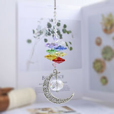 Crystal Suncatcher Metal Moon Pendant with Colorful Octagons Hanging Ornament