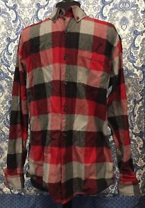 EDDIE BAUER M Medium Red Black Plaid Flannel Button Collar Long Sleeve Shirt E