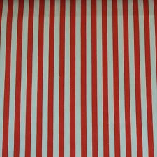 *SALE*  Red Stripe Polycotton: Fabric Material White Christmas 10mm 1cm