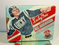 COLLECTIBLE LUCKY YOU ADVERTISING LUCKY BRAND DUNGAREES METAL TIN CONTAINER