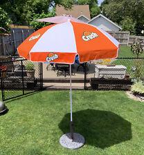 VINTAGE ORANGE CRUSH Fabric Patio Umbrella with Extender Pole NOS