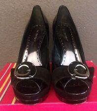 BCBG Womens SIZE 9 M SHOES PEEPTOE PLATFORM PUMP Heels Patent Leather Suede Box