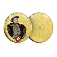 Tudor Memorabilia Gifts Collectable Historical Gold Coin Genuine Ruby Gem Stone