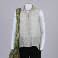Vtg 1990s Jute Gauze Ethnic Boho Embroidered Floral Long Sleeveless Blouse 14