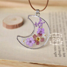 Moon Shaped Handmade Real Dried Flowers in Resin Pendant Chain Short Necklace