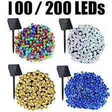 100/200 LED Solar Cadena De Luces Bombillas Decoración Fiesta de modo 8 impermeable al aire libre