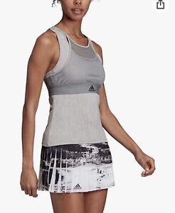 NWT Adidas DZ6228 Women Tennis New York Sleeveless Tank Top Grey Heather Size XL