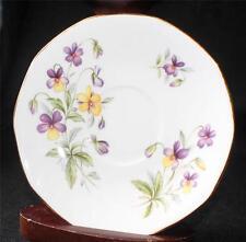 Vintage ROYAL HERITAGE Bone China England PANSY FLOWERS Pattern Saucer