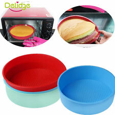 "8""Silicone Round Sponge Cake Mold Pan Muffin Bread Pizza Pastry Baking Tin Liner"