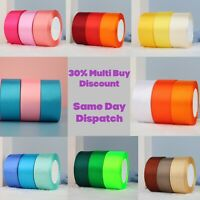 23 Metres, DOUBLE SIDED Satin Ribbon (Rolls). 6mm 10mm 15mm 25mm 38mm Widths