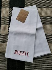 Htf New Rae Dunn for Christmas Naughty & Nice Kitchen Hand Towels Set 2 Cotton