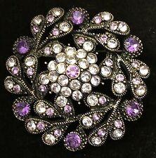 Vintage Antiqued Metal Purple Violet Flower Rhinestone Cluster Brooch Broach Pin