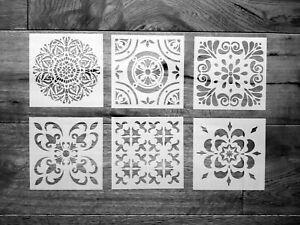 6er Set Schablonen Mandala Nr. 41 Shabby Chic Jugendstil Mandala Malen Möbel