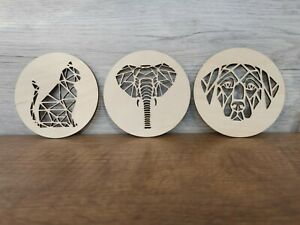 Wooden laser cut geometric coasters from top quality 3mm ply