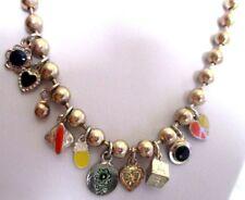 Bijou vintage collier de perles dorées pampilles originales coeur peace love 694