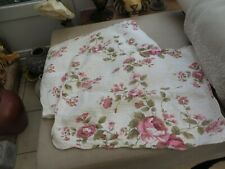 Pair of Laura Ashley pretty floral vintage pillowcases scalloped edge quilted