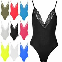 Womens Ladies Sleeveless Bodysuit Plain V Plunge Laced Neck Jersey Leotard Top