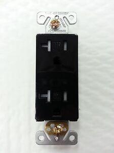 (20 pc) Decorator Duplex Receptacles 20 Amp Tamper Resistant BLACK 20A Decora
