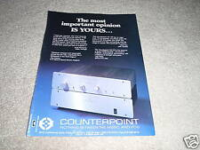 Counterpoint SA-1000Pre SA-100 Amp Ad from 1991,TUBE