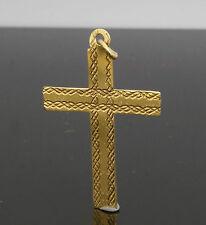 9carat Oro Amarillo Con Estampado Cruz Colgante 18x28mm