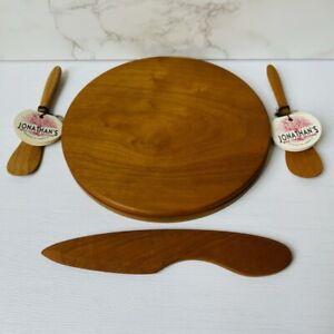 "Jonathan's Wild Cherry Spoons Cheese Board Set Handmade USA 7"""