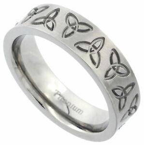 6mm Titanium Ring Men Women Wedding Band Triquetra Celtic Trinity Flat Brushed