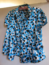 Shiny Blue & White Circles Debenhams Shirt / Blouse / Top in Size 14