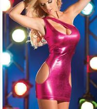 Sexy Rose Lingerie Straps Tight Dress Patent Leather Nightdress Pajama M VX18