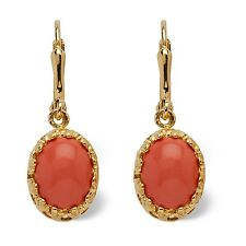 PalmBeach Jewelry Orange Oval Coral Drop 14k Yellow Gold-Plated Earrings