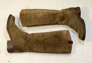 SILVANO SASSETTI brown suede knee high combat riding boots 38-38.5 us7.5-8 uk5.5