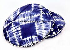 "2 PC Tie Dye Blue Mandala Indian Round Floor Pillow Cover Ottoman Boho Poufs 32"""