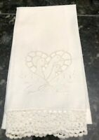 White Pure Linen& Cotton Crochet Embroidered Geese & Lace Guest Towel