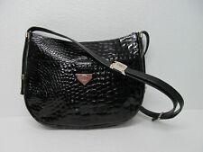 Pourchet Paris Made in France Black Patent Leather Croc Embossed Shoulder Bag