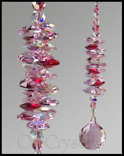 30mm Pink Ball Suncatcher made with Swarovski Crystal Pink & Red