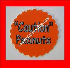 10 Caution Peanuts Stickers Bulk Vending Labels