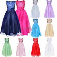 Flower Girl Kids Formal Junior Wedding Bridesmaid Party Princess Dress Age 2-14Y
