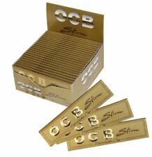 Full Box of 50 OCB Gold King Size Slim Cigarette Smoking Thin Rolling Papers