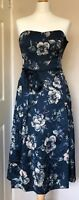 Monsoon Silk Blend Party Dress Size 10 Blue Teal Floral Bow Pretty Wedding